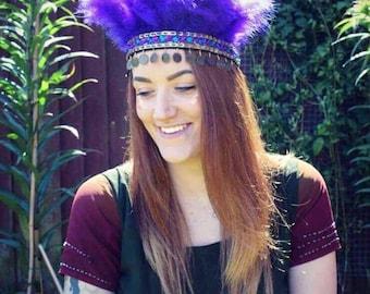 Handmade Feather Headdress, Purple Boho Gypsy Crown, Indian Headband