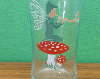 Vintage Pixie Fairy on a Toadstool Glass