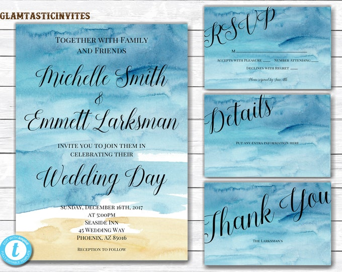 Beach wedding invitation, Ocean and sand in the background, Outdoor Wedding, Beach Wedding, Wedding Invitation, Destination Wedding Invite