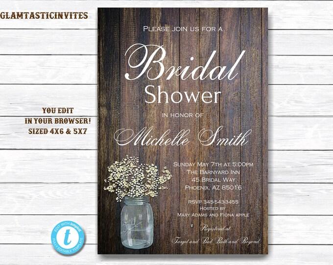Bridal Shower Invitation Template, Rustic Bridal Shower Invite, Instant Download, Wedding Shower Invitation Printable, Rustic, Mason Jar