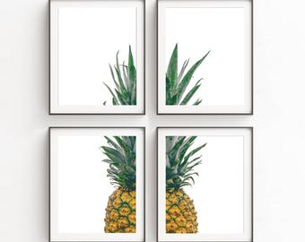 Kitchen Decor, Print Sets, Wall Art Set of 4, Pineapple, Set of 4 Prints, Kitchen Art, Pineapple Wall Art, Wall Art Printables, Poster