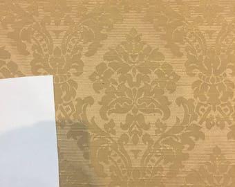 "Fabricut Gold French Damask Brocade Drapery Upholstery Fabric By the yard 58"" Multipurpose"