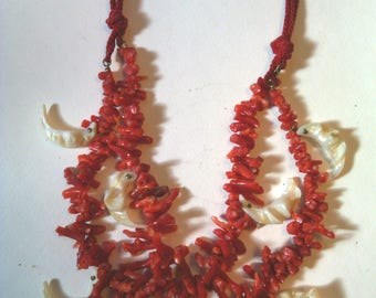 Vintage Italian Coral double strand necklace