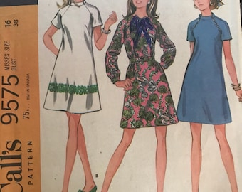 Vintage 60s McCall's 9575 Dress Pattern