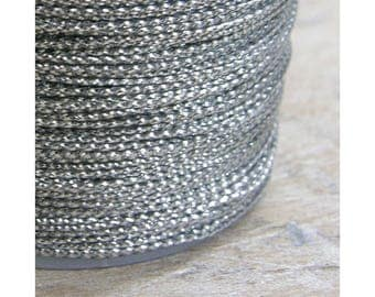 80 meters Silver Metallic Braided Rayon Cord Craft Thread Twine, 0.8mm thick, Christmas Ornaments Macrame Dreamcatcher Webbing