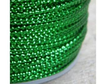 80 meters Green Metallic Braided Rayon Cord Craft Thread Twine, 0.8mm thick, Christmas Ornaments Macrame Dreamcatcher Webbing