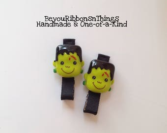 Frankenstein | Hair Clips for Girls | Toddler Barrette | Kids Hair Accessories | Black Grosgrain Ribbon | No Slip Grip | Halloween