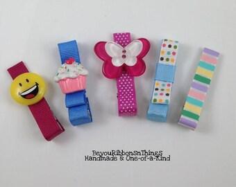 Fun | Mixed | Hair Clip for Girls | Toddler Barrette | Kids Hair Accessories | Grosgrain Ribbon | No Slip Grip