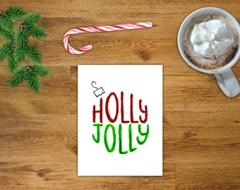 Holly Jolly Ornament Christmas Card | Printable Holiday Card | Printable Christmas Card