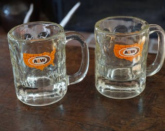 Set of 2 Vintage A and W Root Beer Float Mugs/Glasses/ 1960s-1970s