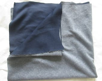 Piece of wool fabrics in blue grey Interior dark blue 1 m 68 in length and 73 cm in height