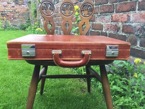 TAN BRIEFCASE | Vintage Luggage | Vintage Tan Brown Briefcase | Vintage Home Decor | Rustic Brown Decor | Photo Prop | Vintage Briefcase