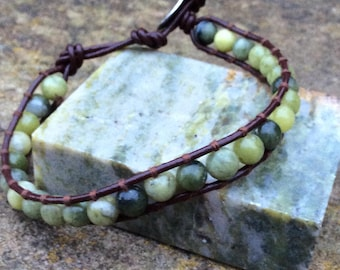 Irish wrap friendship bracelet. Connemara marble.Jewellery Ireland. Real leather men's women's unisex adjustable