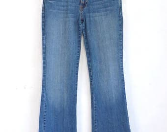 Baby Phat Jeans Embroidered Faded Slim Boot Cute Denim Blue 1990s Jeans Pants Womens Size 5 Retro Hip Hop Boho Junior Blue Denim Jeans