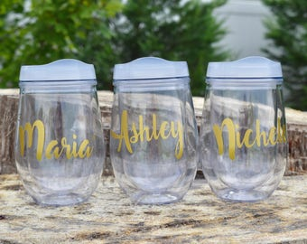 Personalized Plastic Wine Cups, Personalized Gifts, Bachelorette Gift, Wedding Favor,  Bridal Shower, Girls Night, Birthday Gift