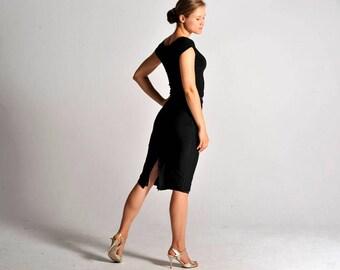 CLARA classic black slit skirt - sizes XS/S/M