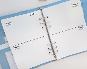 Printed A5 Horizontal WO4P Week on Four Pages | lined or unlined | Week on 4 pages | planner refill | lined unlined printed planner inserts