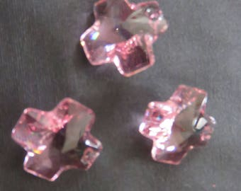 Swarovski Light Crystal pink cross 20 mm