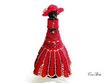 Crochet Dress for Champagne Bottle, Cover Bottle for Christmas, Bottle decoration, Vestito Bottiglia