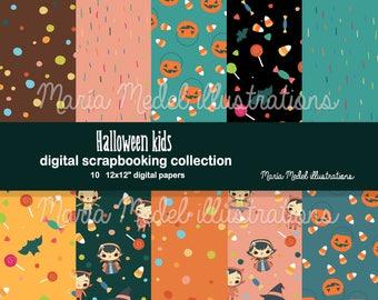 HALLOWEEN SCRAPBOOKING PAPERS- 10 digital papers . Instant download