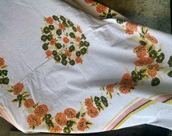 Pretty Floral Harvest Colors Vintage Tablecloth