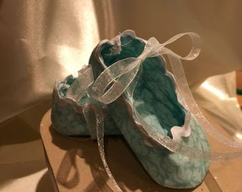 Teal/ white baby girl crib shoes/ booties