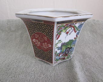 Asain Porcelain  Planter Vtg Imari Excellent  Hand painted Details Vtg Japanese Markings Great Collectible