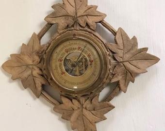 Aneroid Barometer Vintage Western Germany Ornate Wooden Leaves Wood Hand Carved