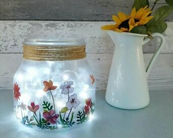 Flower Light Up Jar, Table Lamp, Floral home Decor, Unique desk lamp Lighting, Wildflower Gift for her, Mums Birthday present, Garden Lover