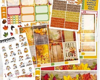 Fall in Love Autumn set / kit weekly stickers - Erin Condren Vertical Planner - leaves woods September October November