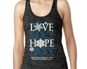 Burnout Tank Top Peace Love Hope Joy Women's Tank Top God Gifts To You Tank Tops