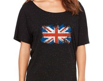 Slouchy Tee british flag union jack   Women's SLOUCHY FITDistressed Union Jack Shirts