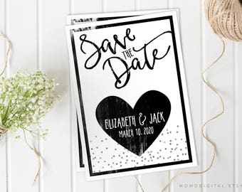 Save The Date, Black And White, Heart, Simplicity Invitation, Wedding Invitation, Faux Silver Glitter Goil, Modernism, Handletter, Digital