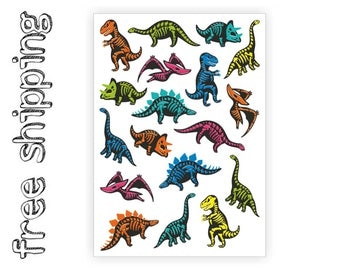 "Temporary tattoos ""Dino skeletons"". Kids body stickers with dinosaurs, skeletons and skulls. Halloween party bag supply. TA053"