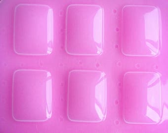 SUMMER SALE 6pc 23x32mm Rectangle Cabochon Dome Flexible Plastic Mold For Resin Crafts Jewelry Decoden