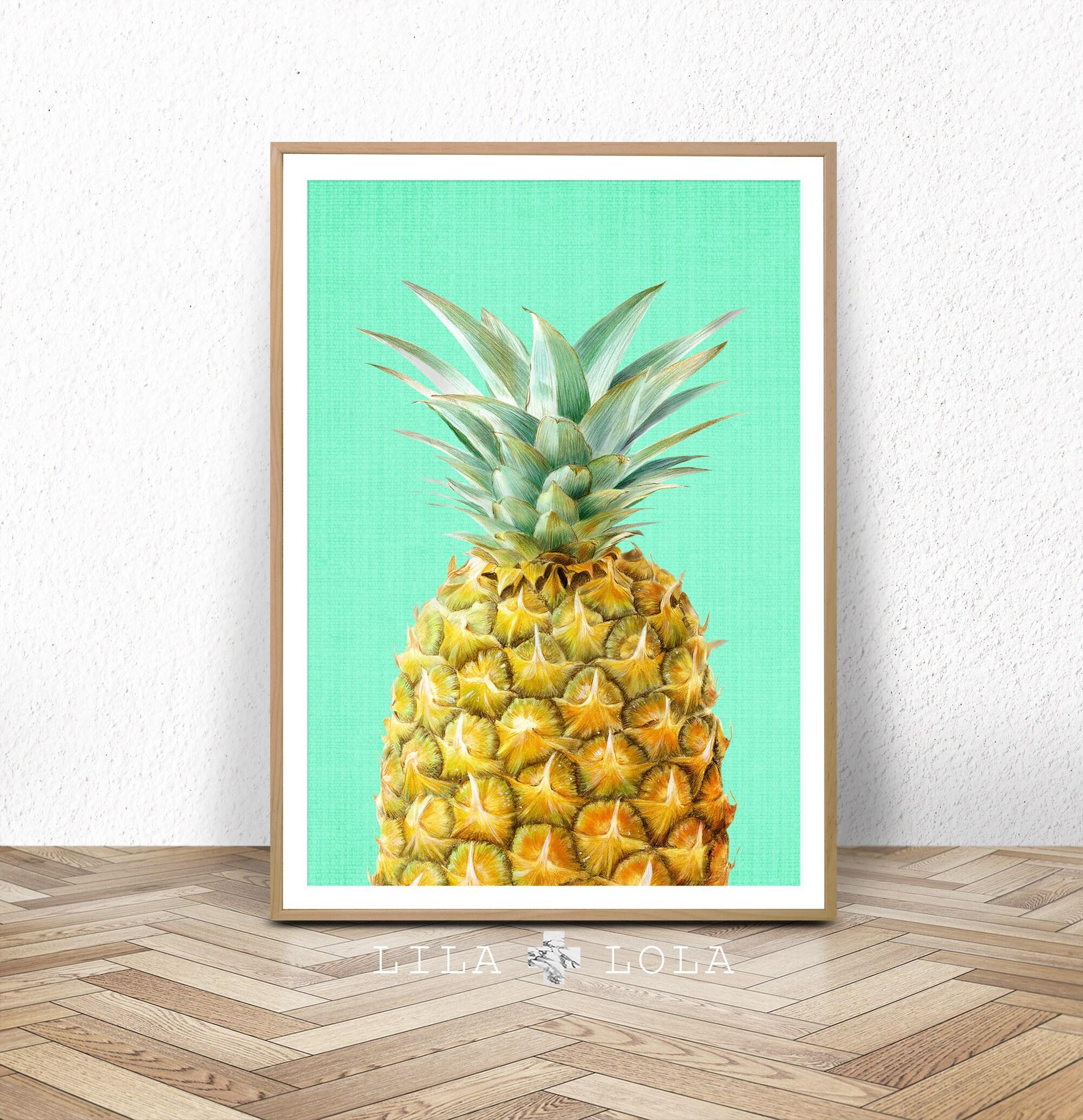 Pineapple print fruit wall art kitchen decor tropical zoom amipublicfo Choice Image