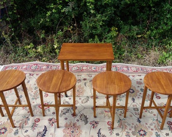 Mid Century Teak Occasional Tables, Vintage Space Saving Tables, Eat-Out Tables, Nest of Tables, 1960's Teak Tables, Nest Tea Serving Tables
