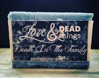 Death in the Family - Handcrafted Soap, Funeral Soap, Floral and Stale, Hot Processed Soap, Purple Soap, Flower Soap