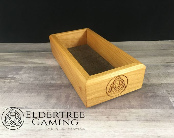 Premium Dice Tray - Personal Sized - Cherry with Felt or Lether Rolling Surface - Eldertree Gaming