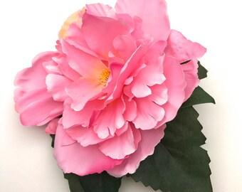 Handmade Vibrant Pink Peony Brooch / Corsage
