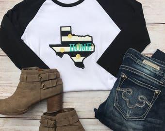 Womens Texas Shirt; Texas Shirt; Texas Home Shirt; Texas Tee; Texas Tshirt; Womens Raglan; Texas Baseball Tee