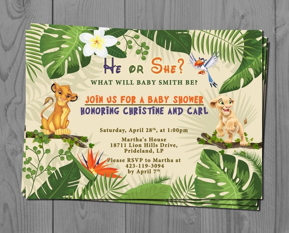 Nala and Simba Gender Reveal Invite, Lion King Baby Shower Invitation, Jungle Baby Invitation, Baby Disney, Safari Theme, He or She