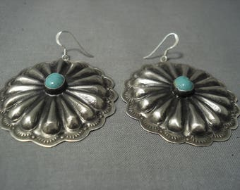 Huge Navajo Sterling Silver Concho Turquoise Sterling Silver Earrings