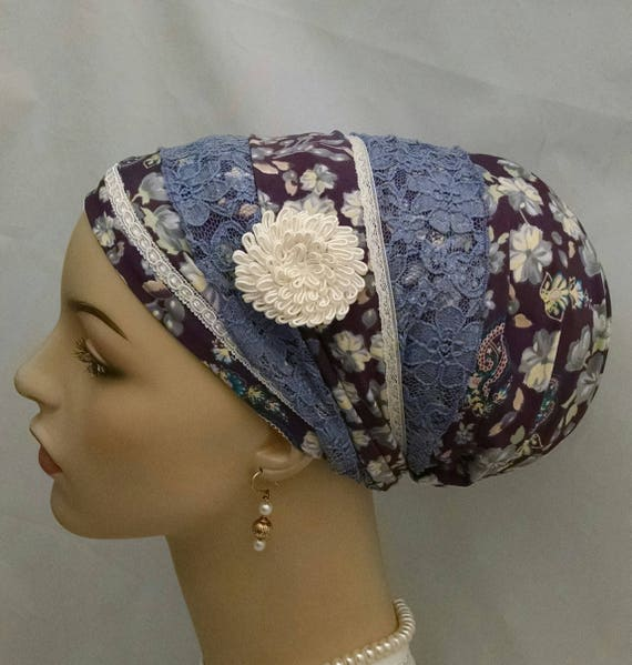 Stunning plum and lace floral sinar tichel, tichels, chemo scarves, head scarves