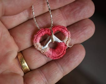 Crocheted Pull Tab Heart Jewelry