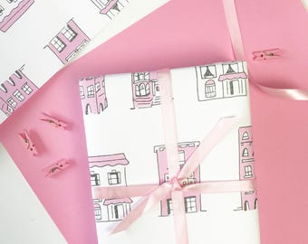 PINK HOUSES Gift Wrap, Cute Gift Wrap, Pink Wrapping Paper, Birthday Gift Wrap, Gift Wrap for Her, Cute Wrapping Paper, San Francisco Gift