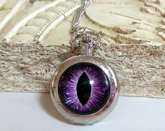 Hand-Painted Purple Dragon Eye on Silver Pocket Watch with Chain Necklace