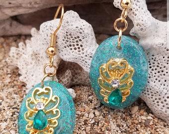 Teal Rhinestone w/Gold Earrings, Resin Earrings, Teal Resing Earrings, Teal Earrings