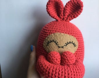 "READY TO SHIP handmade crochet amigurumi art toy stuffed animal toy snuggle ""curlie"" bunny rabbit plushie"