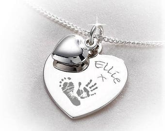 925 Sterling Silver Engraved Handprint Footprint Heart Necklace Pendant with Heart Dangle